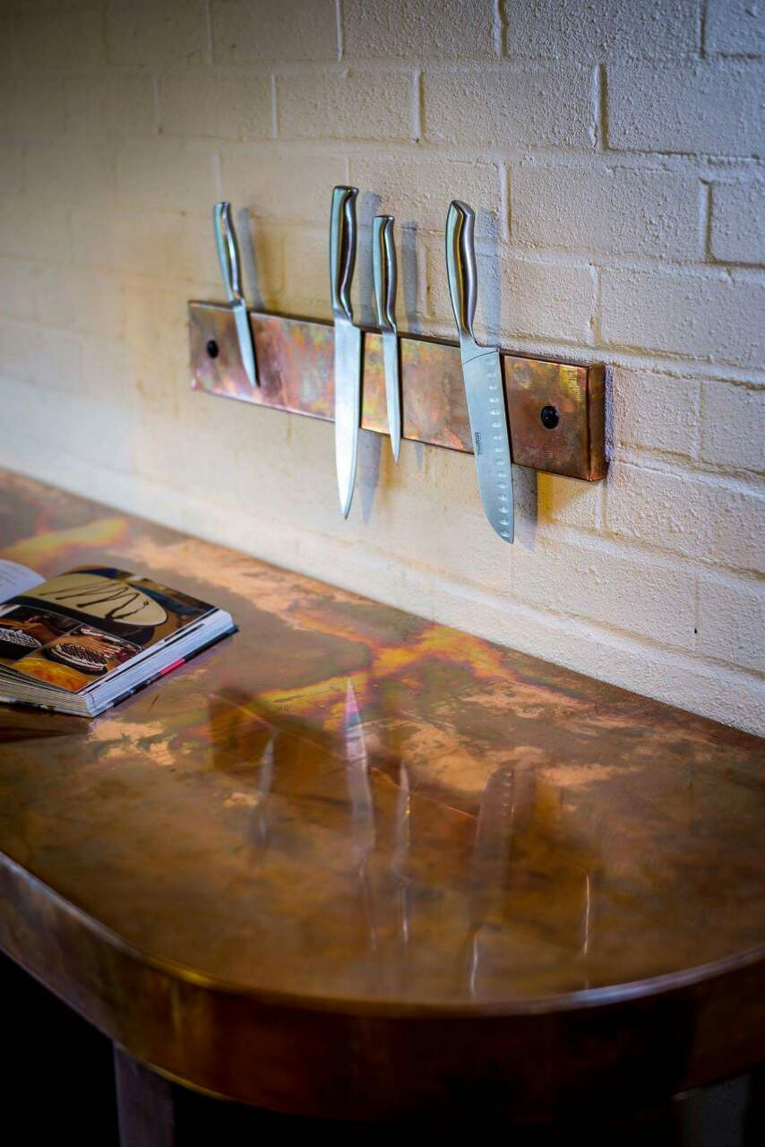 We are so delighted to introduce this beauty created @ModumWorktops .   Copper knife block can be made with aged or natural Copper and size adjusted to your taste or kitchen  needs.  Tell us what YOU think     Contact us for more info