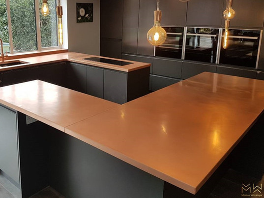 Hand folded, natural copper worktops