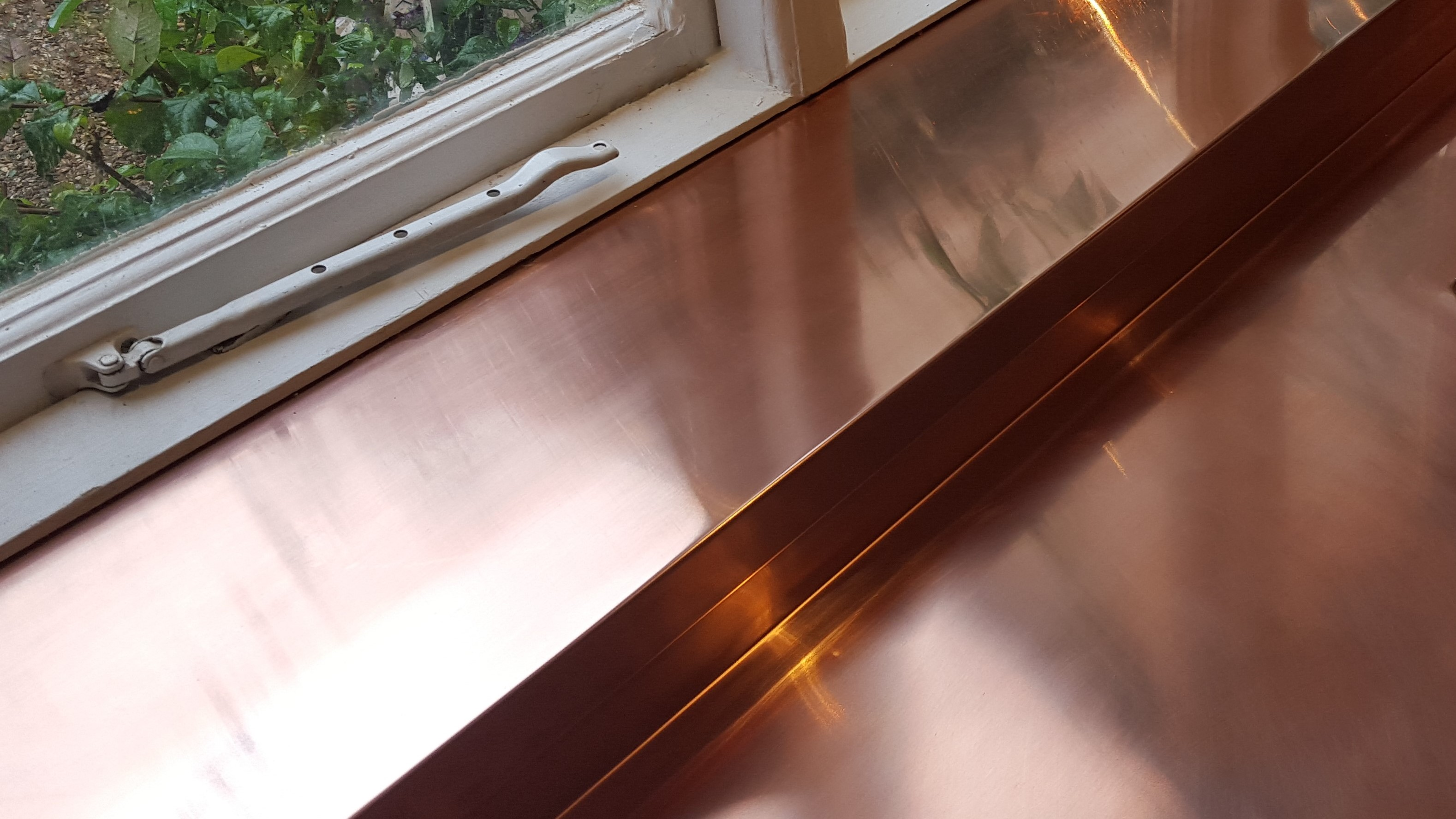 Copper windowsill