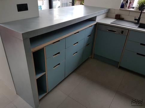 Custom made, natural zinc kitchen worktop-bar