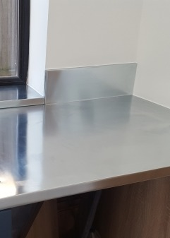 Zinc worktop with upstand