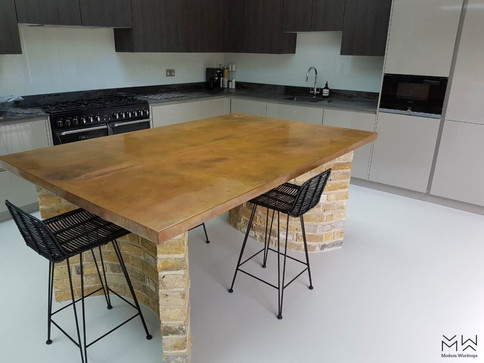 Custom, double width copper table top with bespoke patina