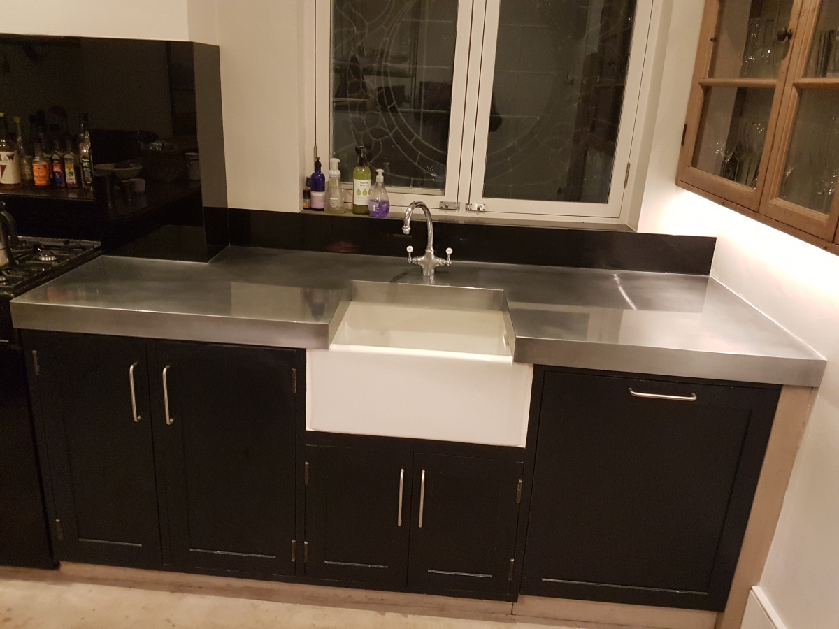 Custom made zinc worktop