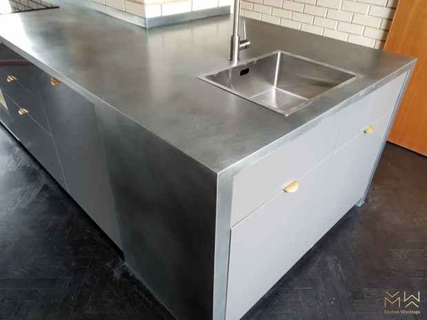 Lightly aged zinc worktop