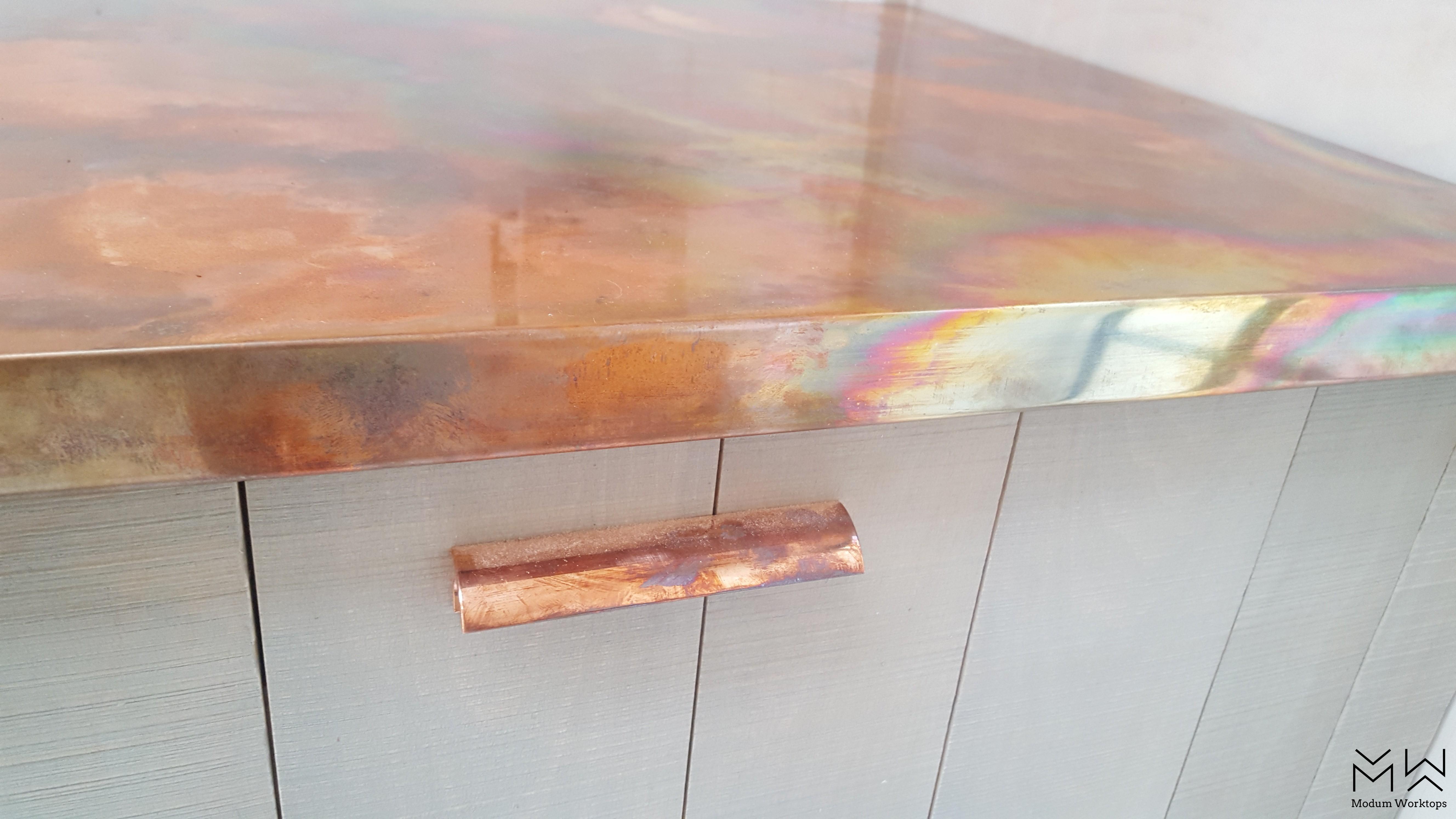 Aged/burned copper worktops