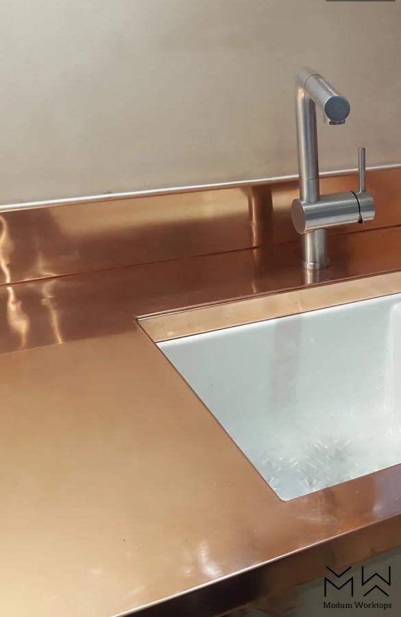 Copper worktop & up-stand duo