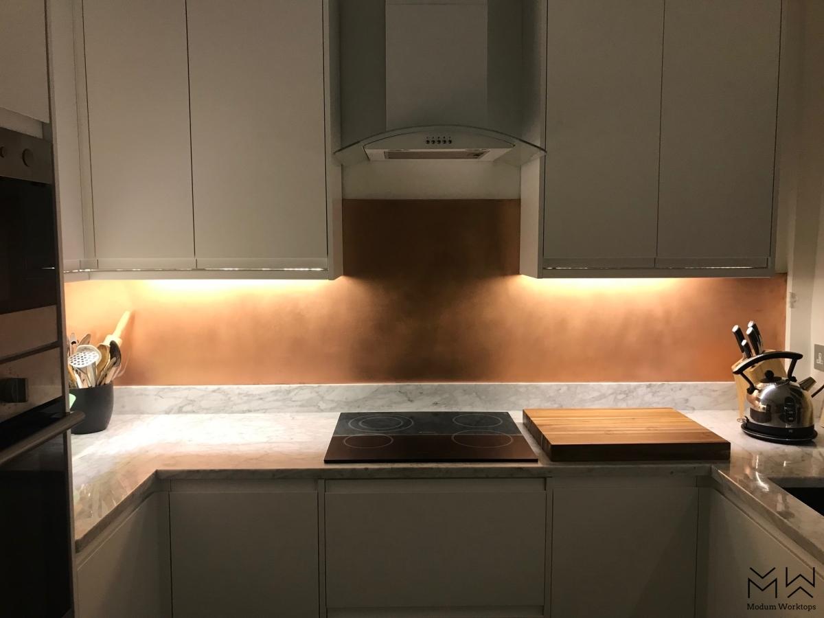 Brushed copper splash-back