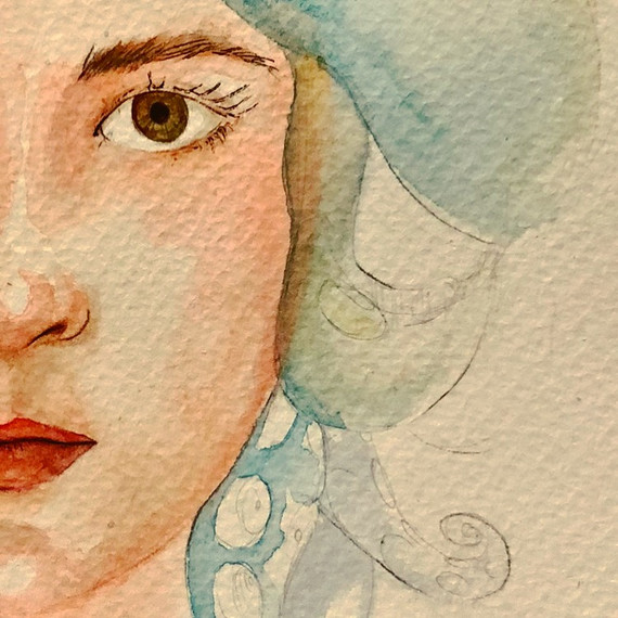 retrato watercolor ink girl