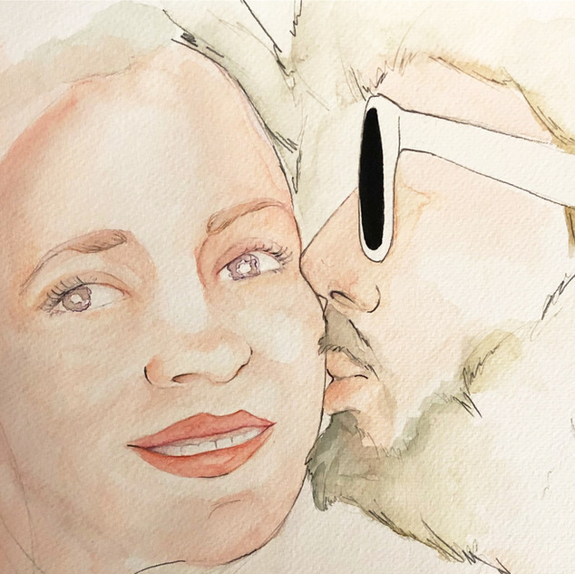 retrato watercolor ink Lau e Iñaki