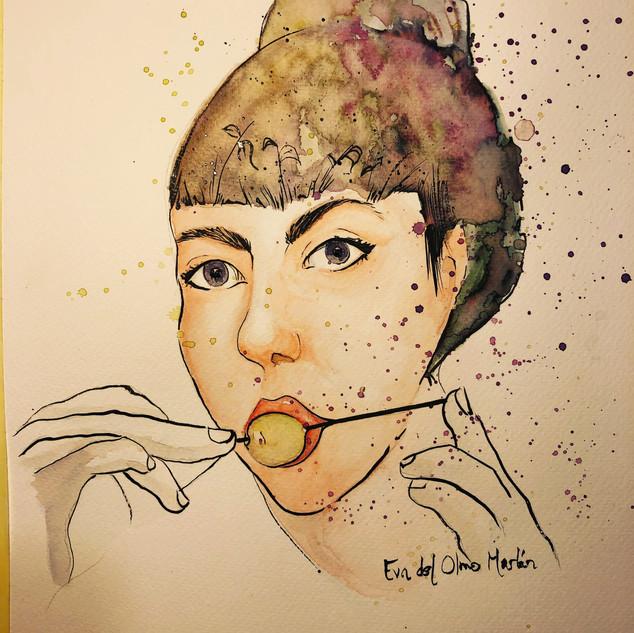 retrato watercolo ink on