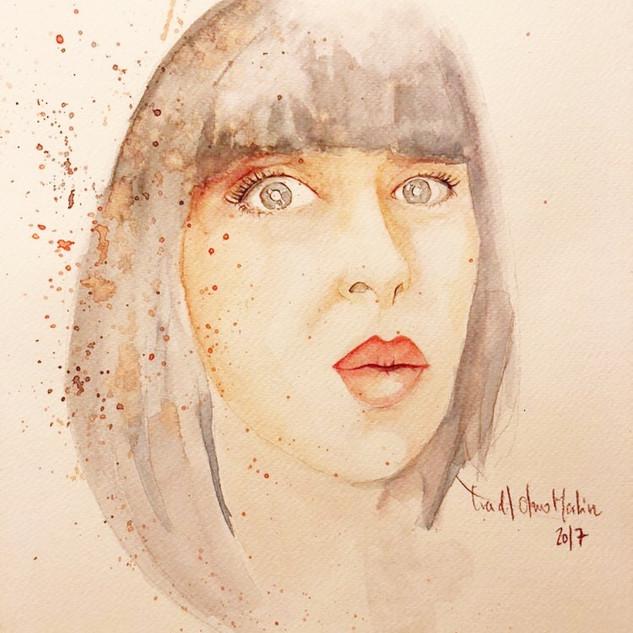 retrato watercolor ink Im