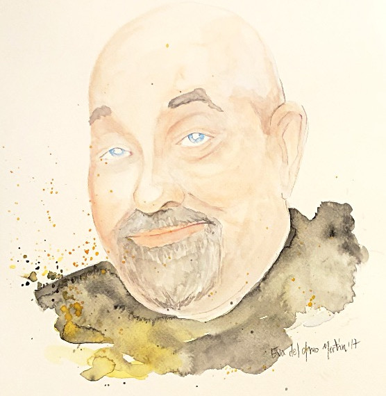 retrato watercolor ink Manuel