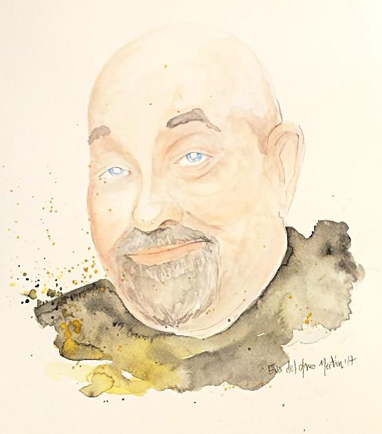 retrato watercolor ink Manuel