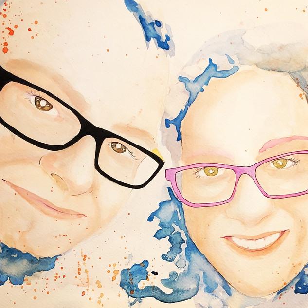 retrato watercolor ink Belén y Alex