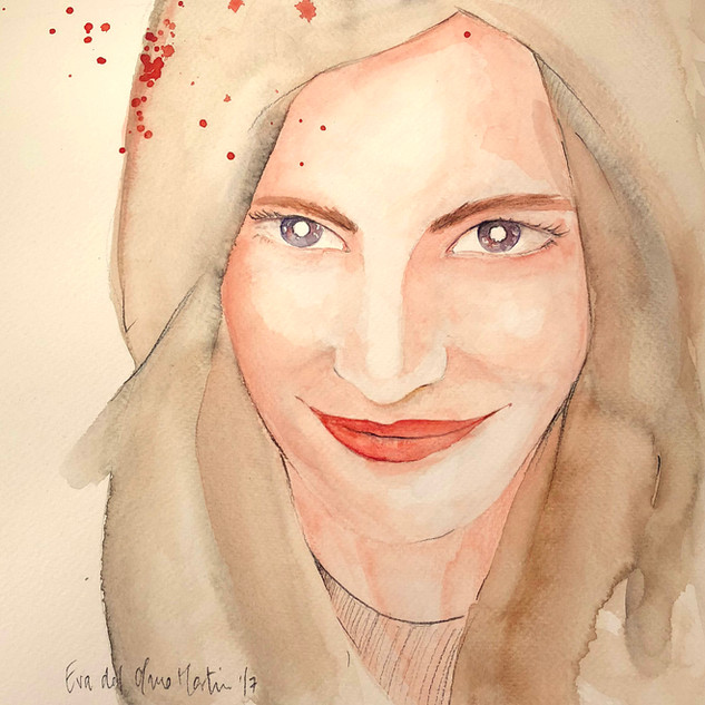 retrato watercolor ink Marta