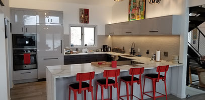 Contemporary Kitchen with Splash of Colo