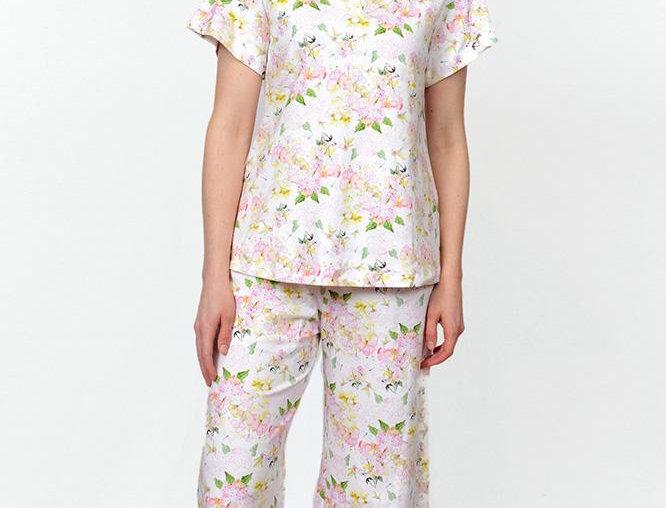 Cotn Hydrangea Print Capri Pajamas