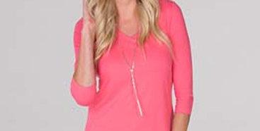 Judy P V-Neck 3/4 Sleeve Tunic