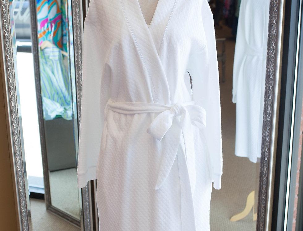 Cotn Diamond Kimono Robe White