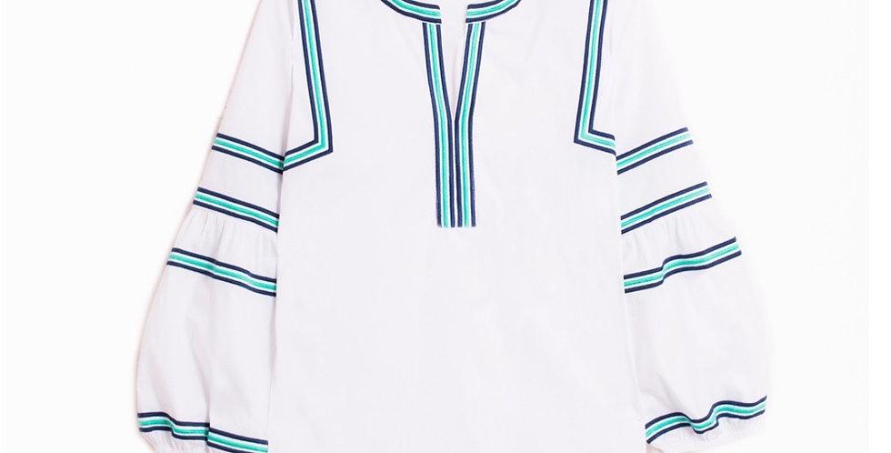 Vilagallo Embroidered Stripe Top