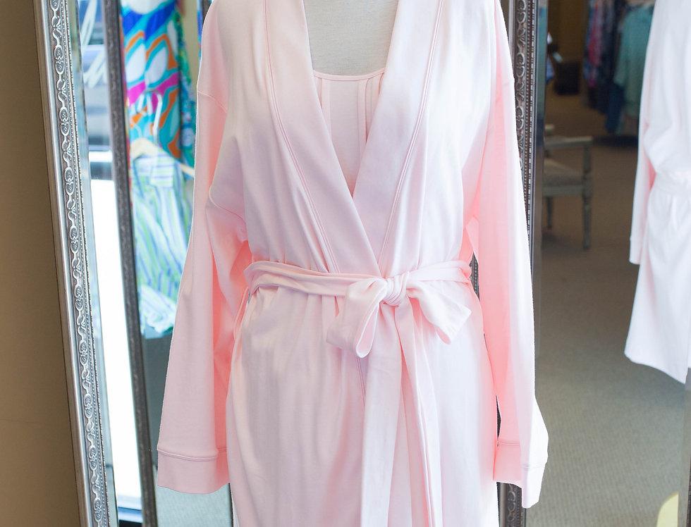 Cotn Short Kimono Robe Pink