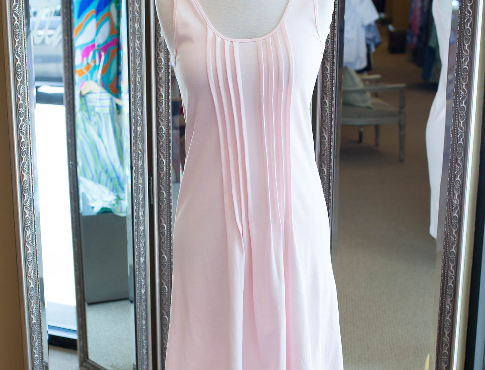 Cotn Pleated Short Tank Gown Pink