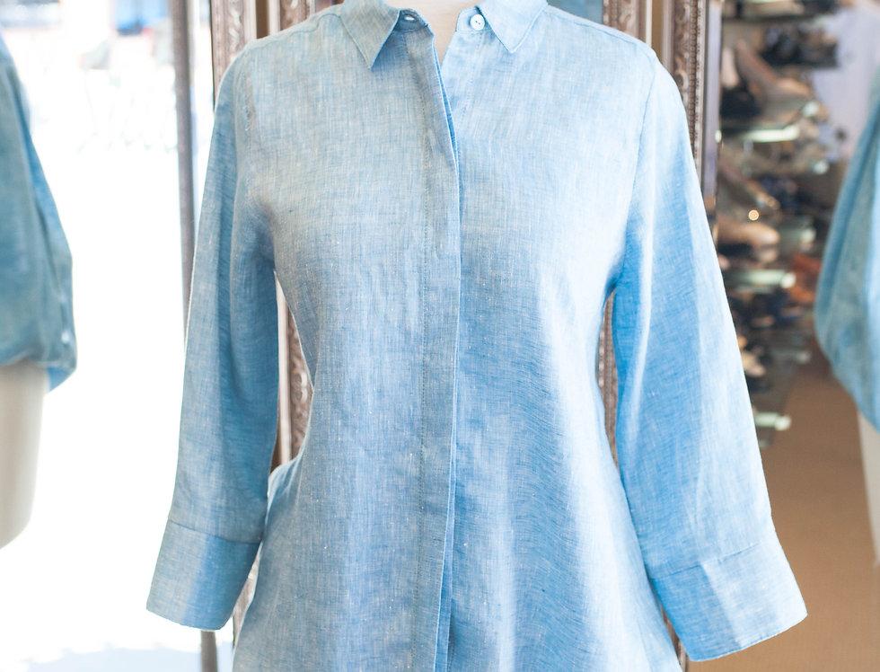 Boho Chic Blue Linen Shirt