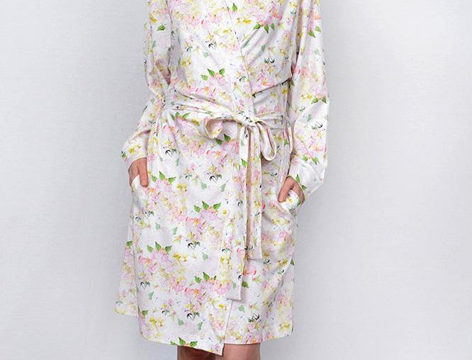 Cotn Hydrangea Print Robe