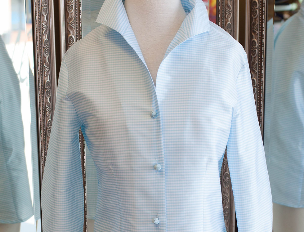 Connie Roberson Aqua Check Blouse