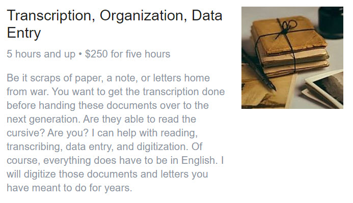 Transcription, Organization, Data Entry