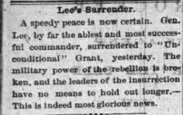 When did the news of the end of the civil war or war of rebellion reach Iowa?
