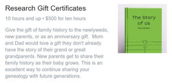 Roots to Branches Genealogy Research Gift Certificates