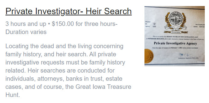 Private Investigator- Heir Search