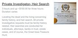 Private Investigator- Heir Search
