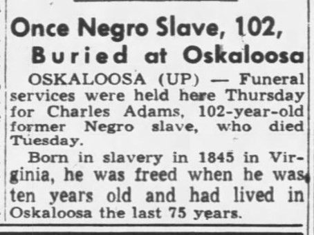 Possibly the last slave in Iowa and in person research
