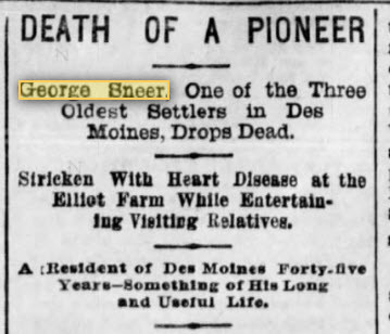 Des Moines is getting old. Death comes to a pioneer of Des Moines.