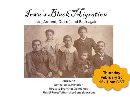 Thursday Iowa's Black Migration Presentation