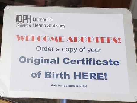 Iowa Adoptees and their Original Birth Certificates