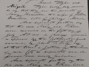Nancy Hamilton v. William Hamilton divorce 1859