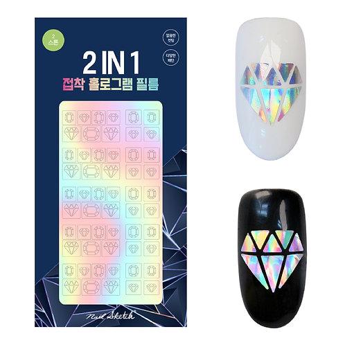 Nail Sketch-2 in1 Hologram Film Sticker 韓國玻璃鐳射貼
