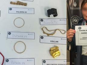 La PSA detuvo a una azafata que intentó contrabandear dos kilos de oro