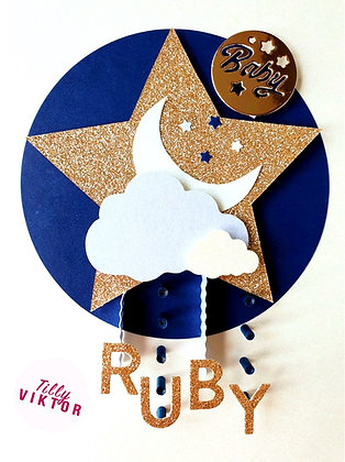 Navy and Rose Gold Moon and Star
