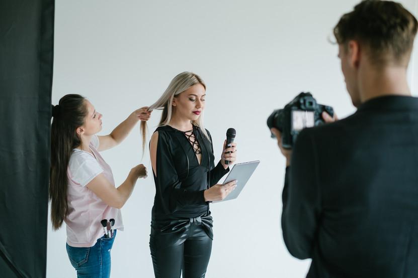 backstage teamwork filming tv presenter