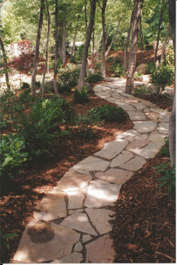 Flagstone path next to chips
