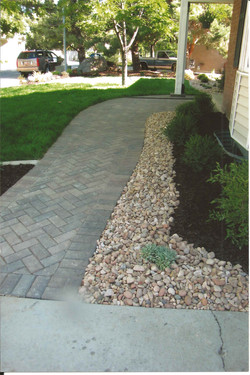 Paver pathway and rocks