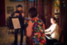 Dr. Larkin Sanders performing at Classical Revolution Kansas City with Xiphias Trio.