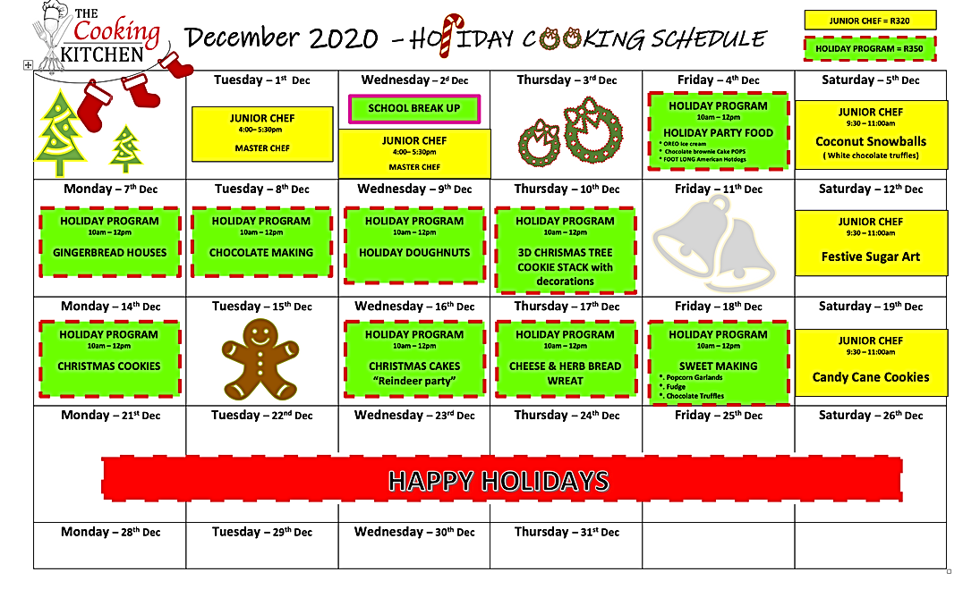 Holiday Program schedule