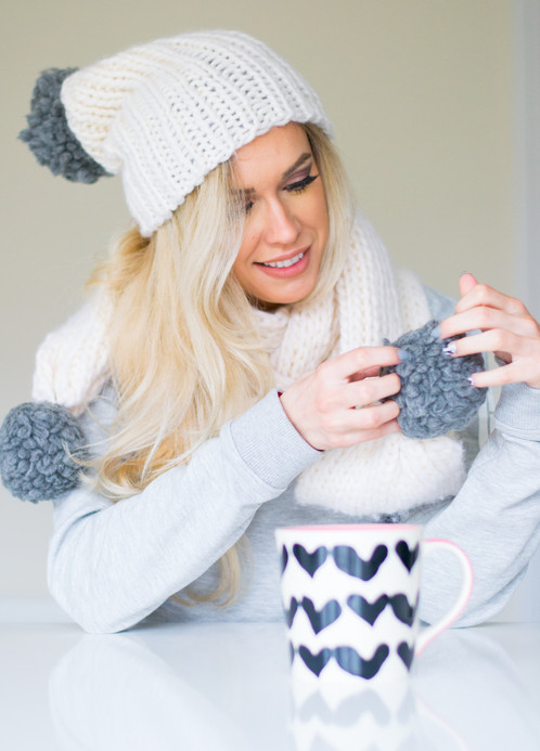 Snowball Hat And Scarf Knitting Pattern Digital Download
