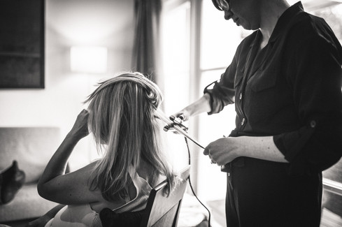Black and white bridal prep