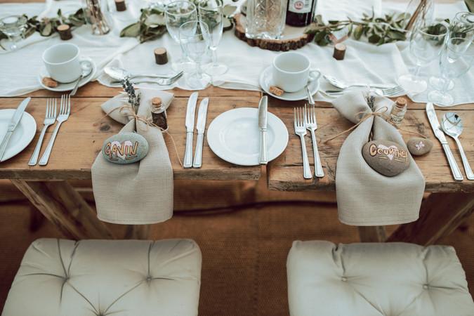 Festival style wedding Table setting
